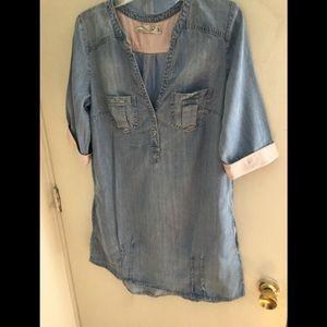 100% cotton Denim shirt dress
